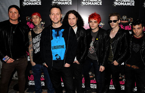 rollingstonesandtheramones:  Blink-182 and My Chemical Romance annouce their upcoming 2011 Honda Civic Tour at a press conference in Los Angeles, May 23, 2011.