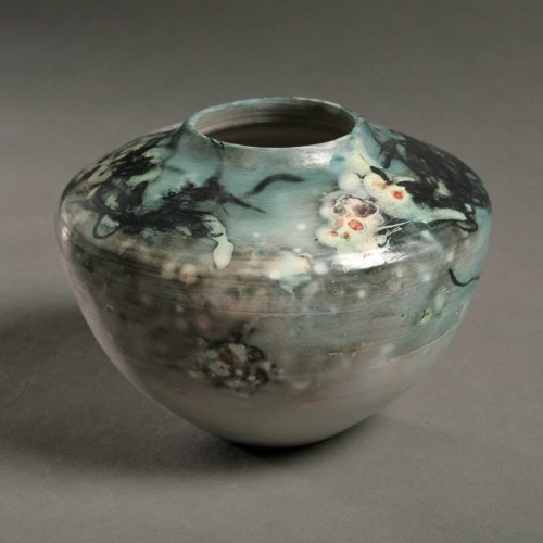 Tim Scull: Saggar Fired Vessel (Blue)