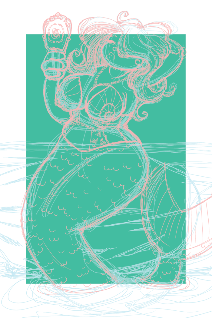 And my third mermaid sketch. I might just finish this one. I like this and the pouting mermaid the best. But don't know how much time it'll take to finish more than one. We shall see!  Corsets are pretty much the best, and I wanted to see a mermaid in a seashell corset.