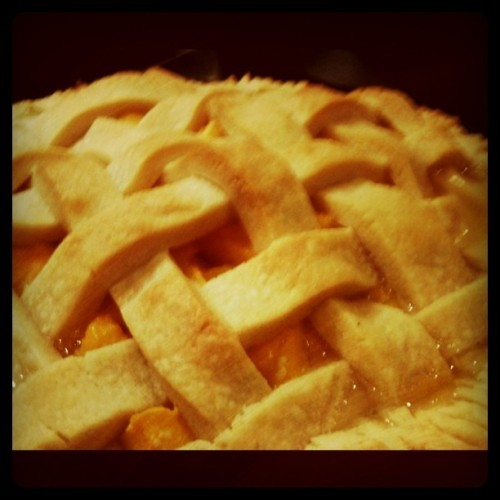 Hello Summer! Fresh Peach Pie. (Taken with Instagram at Caryn's Kitchen)