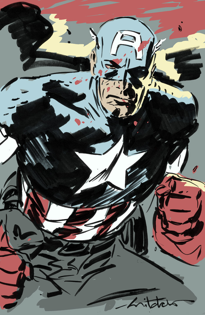 Some fun Captain America art before bed.