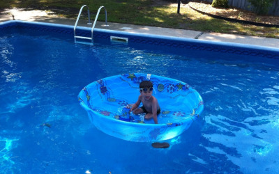 tastefullyoffensive:  Poolception  Now his inevitable floaters will be contained. Everyone back in!