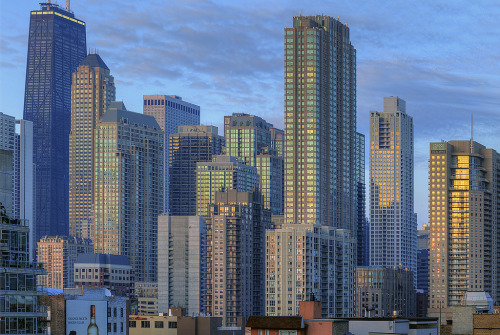 River North buildings at sunset by iamhydrogen on flickr via urbanskyline