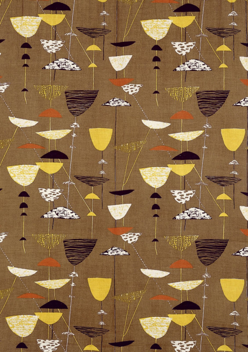 1972projects:  DESIGN FOR LIVING: Lucienne Day fabric design for Heals, 1951 http://www.1972projects.blogspot.com