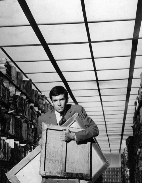 "oldhollywood:  Anthony Perkins in The Trial (1962, dir. Orson Welles) Q. A critic who admires your work very much said that, in The Trial, you were repeating yourself… Welles: Exactly, I repeated myself. I believe we do it all the time. We always take up certain elements again. How can it be avoided? An actor's voice always has the same timbre and, consequently, he repeats himself. It is the same for a singer, a painter…There are always certain things that come back, for they are part of one's personality, of one's style. If these things didn't come into play, a personality would be so complex that it would become impossible to identify it.  It is not my intention to repeat myself, but in my work there should certainly be references to what I have done in the past. Say what you will, but The Trial is the best film I ever made…I have never been so happy as when I made this film."" -excerpted from Orson Welles: Interviews"