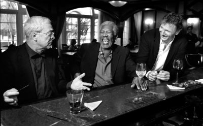 Alfred Pennyworth, Lucius Fox, and Ra's al Ghul chilling out..