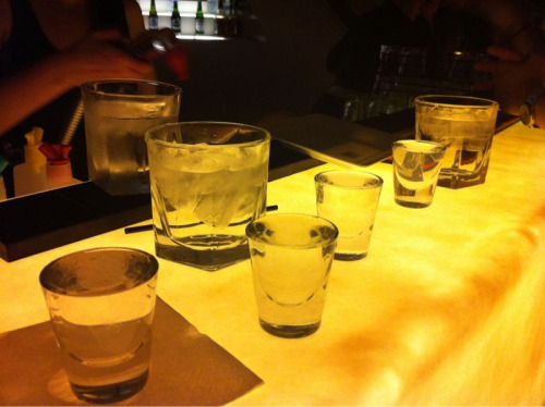beautyboudoir:  Vodka shots lined up.