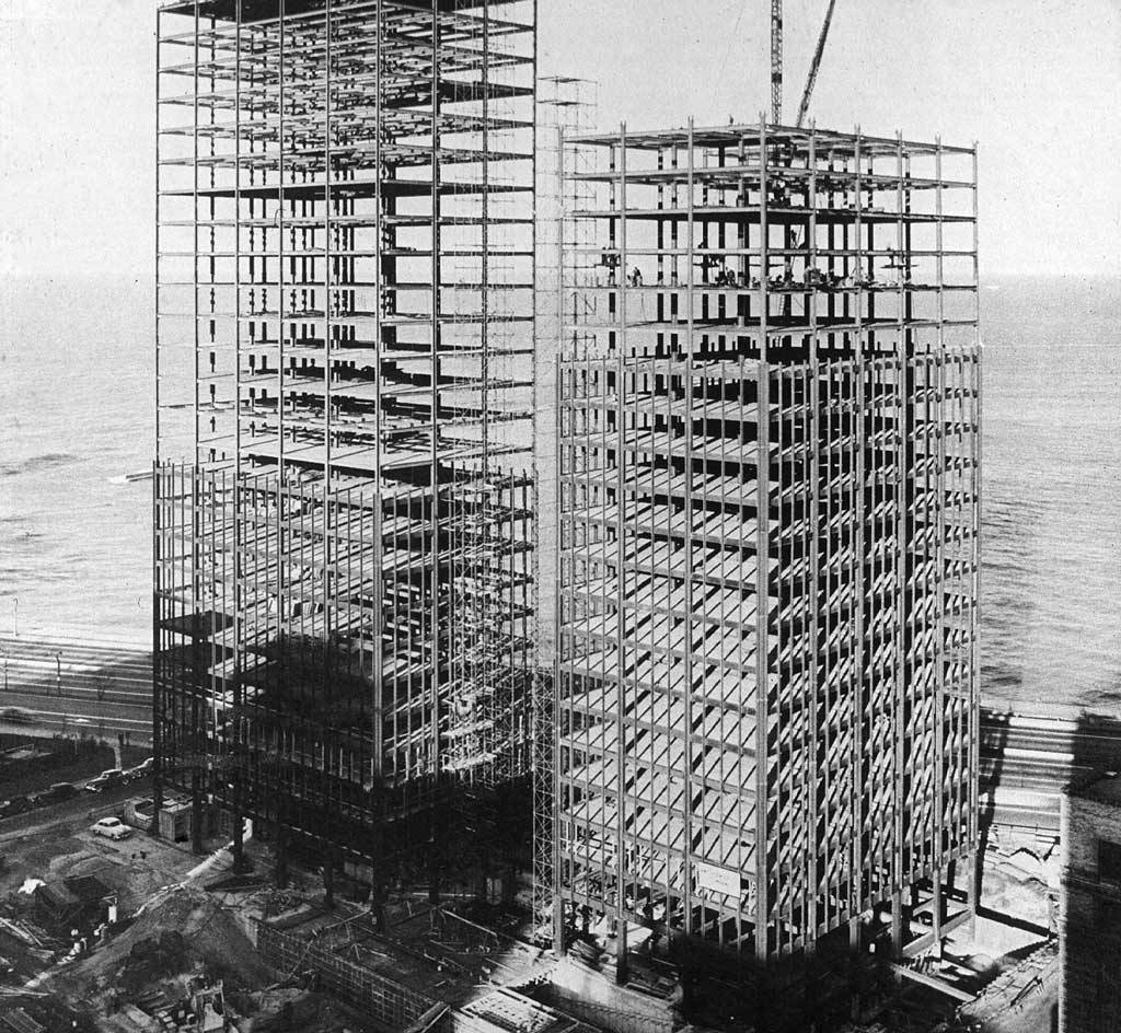 Mies van der Rohe's Lake Shore Drive apartments under construction in 1951, Chicago