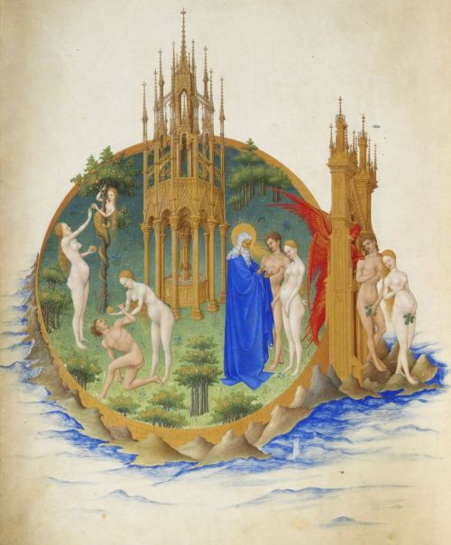 mediumaevum:  The Garden of Eden from the Très Riches Heures du Duc de Berry by the Limbourg Brothers, 1410s  inspiration