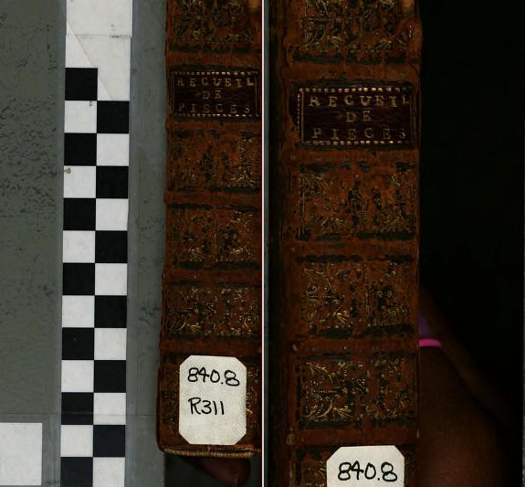 Spine of book digitized with the hand of the employee/scanning environment From digitization of Recueil de Pieces (1678). [Here]