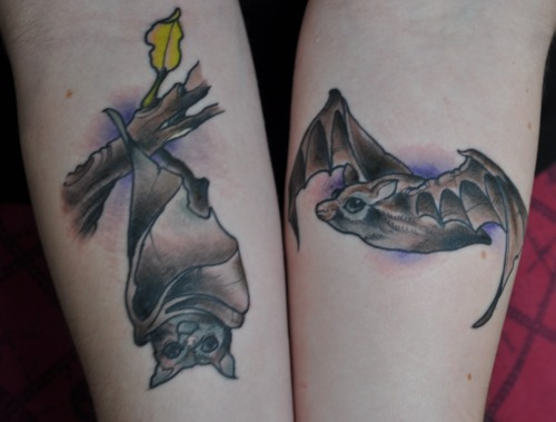 fuckyeahtattoos:  stellaluna bats. my mom used to read me the story when i was little, and it happened to relate to my life more than i would have expected when i was 4.