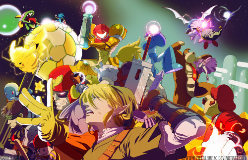 The Super Smash Bros. clan rocks a new look in Hanzo Steinbach's illustration that he put together for an IGN Article. Mega Man & Cloud even make the cut. Related Rampages: Link Vs. Darknut | Metal Gear Moogle (More) Super Smash Bros… What if by Hanzo Steinbach / MetalHanzo (Facebook)