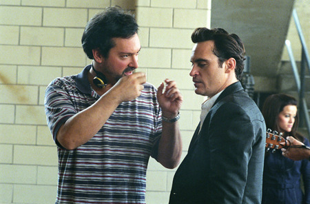 James Mangold and Joaquin Phoenix on-set Walk the Line (2005)
