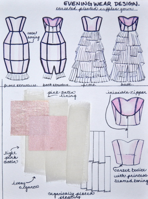 Evening Wear Design technical flats/swatches. Watercolor/ink on paper.