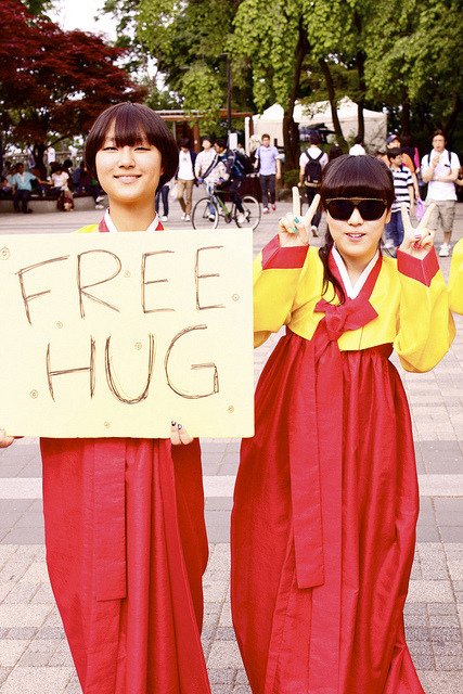This probably best describes my weekend. Free hugs from Korean hipster gals in hanboks at Namsan Tower.