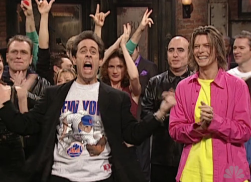 "Seinfeld screams ""Go Mets!"" in '99 on SNL (via bbilko: inspired by awesome people hanging out together)"