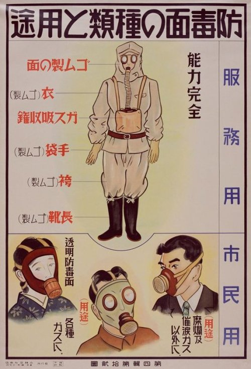 50watts:  ilikegasmasks:  1940s instructional poster for gas mask safety, Japan.  And here's the Chinese equivalent  oh this is wonderful