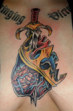 Tattoo by John Hansen, first session 1 or 2 more coming. Will be a cover-up over the crooked lettering, with wings and some soft background shading :) Thanks for looking