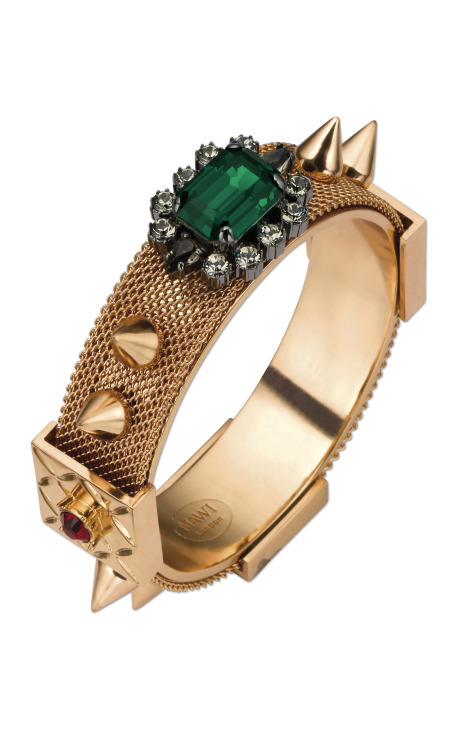 fortunaforme:  Mawi Mesh Bangle | FW11 | Rose Gold; Emerald surrounded by siam stones and black diamond crystals | $802   If you're interested in purchasing this piece and do not have a membership to Moda Operandi, please leave me a message in my ask box and I am available to invite you; I only have 5 invitations remaining!