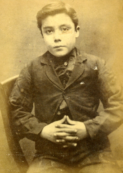 stellar-raven:  Henry Leonard Stephenson At such a young age, Henry Leonard  Stephenson was convicted of breaking in to houses and was sentenced to 2  months in prison in 1873 Age (on discharge): 12Height:                        4.5Hair:                            DarkEyes:                           HazelPlace of Birth:            Castle EdenMarried or single:     Single These photographs are of convicted criminals in Newcastle between 1871 - 1873.  Young boys convicted and imprisoned? This must be the origin of Enzai.