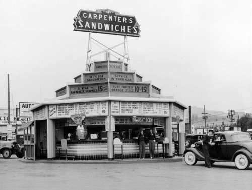 Carpenter's Drive-in sandwich shop at the corner of Sunset and Vine in Hollywood, CA - 1926