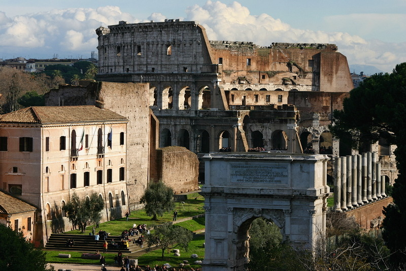 Another view of Forum Romanum from Palatine Hill: Colosseum and Arch of Titus.