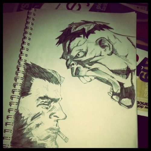 Ultimate Wolverine Vs Hulk sketch. Originally drawn by Leinil Yu. ( taken with Instagram )