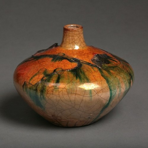 Tim Scull: Raku Fired Vessel With Ferrous Chloride and Inlaid Copper #2