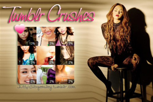 TUMBLR CRUSHES:hollywoodheartohmycelebritiesshebemileyisthemusictoblamewishescyrusloveformileyraycyrusthatshouldbebieberbrightofglowfuckyeahthelastsong  ^ follow all of these amazing blogs (:
