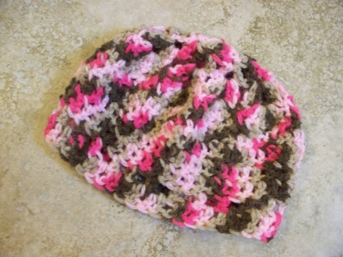 New in my store at CraftyRidge.Etsy.com  Pink Mocha Beanie This adorable hat is made out of soft acrylic yarn and is ready for pictures or just for fun. Crocheted beanie is a light weight acrylic yarn that is perfect for spring or cool air conditioned days. Made with a blended yarn of pinks and mochas. Absolutely perfect for a beautiful baby girl