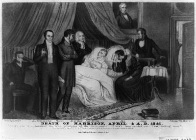 "Death of William Henry Harrison, aka ""Ol' Tippecanoe"". April 6, 1841. His wife and Secretary of State are at his side. One of his grown sons and other cabinet members are also in the room. Harrison had the shortest term of any US president, at only 31 days. When he gave his inaugural address on March 4, it was frigid out, with late winter flurries. He wanted to prove himself still the steadfast hero of Tippecanoe that the nation knew him as, and delivered a two-hour address in the flurries without a cap or an overcoat. When Harrison developed a bad cold three weeks later, the prevailing theories led doctors to believe that his extended exposure to the elements was to blame. The cold turned to pleurisy and pneumonia, but Harrison was still forced to lead the very busy schedule of a president, leading to little rest and time for recovery. Many ""remedies"" of the time were attempted in order to help him get better. Leeches, castor oil, Virginia snakeweed, and opium were all used, and other contemporary ""curers"" were also probably utilized. Notably, bloodletting was not used, though leeches were. In the end, Harrison developed pneumonia through his entire lower right lobe, fluid in the lungs, jaundice, and septicemia. After Harrison died, the Whig party remained extremely divided, and was never again a major contender in elections."