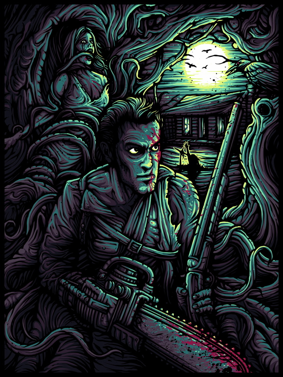 "The Evil Dead (Dusk Edition) Print by Dan Mumford 9-Colour Silkscreen print of only 100 Pieces. S/N by the artist, 18"" x 24"" Now that's a hell of a print, LOVE IT!"