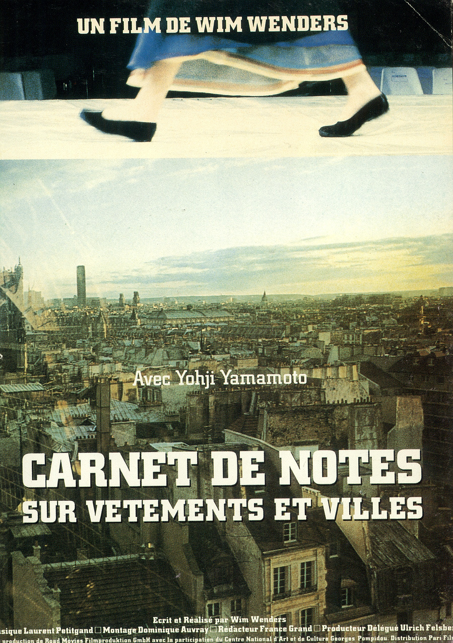 vroomheid:  poster for the film carnets de notes sur vêtements et villes (notebook on cities and clothes) written and directed by wim wenders (1989) commissioned by the cci, centre georges pompidou© archives yohji yamamoto