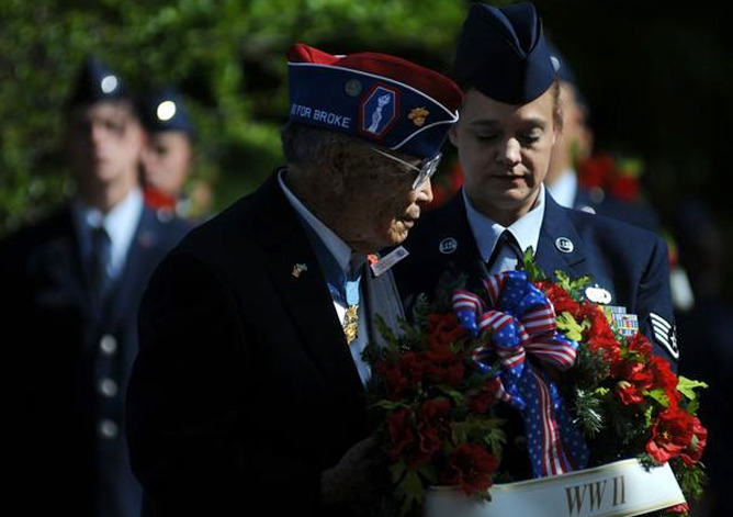 "Denver-area events honor fallen soldiers for Memorial Day  On Saturday, George T. ""Joe"" Sakato presented a wreath honoring the fallen soldiers of World War II at the 12th annual Veterans Memorial Day Tribute, part of this weekend's Memorial Day celebrations."