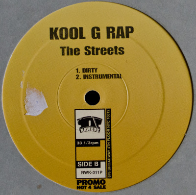 "Kool G Rap - The Streets (12"") Label: Rawkus Cat#: RWK-311P HipHop, USA, 2001 RYM / Discogs Note: Promo release of this excellent 12"" by Kool G. Produced by Buckwild."