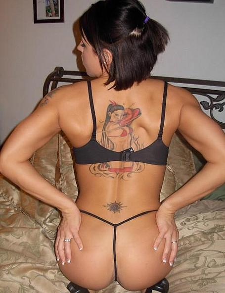 sexy amateur shows her tattooed backside and nice small ass !!