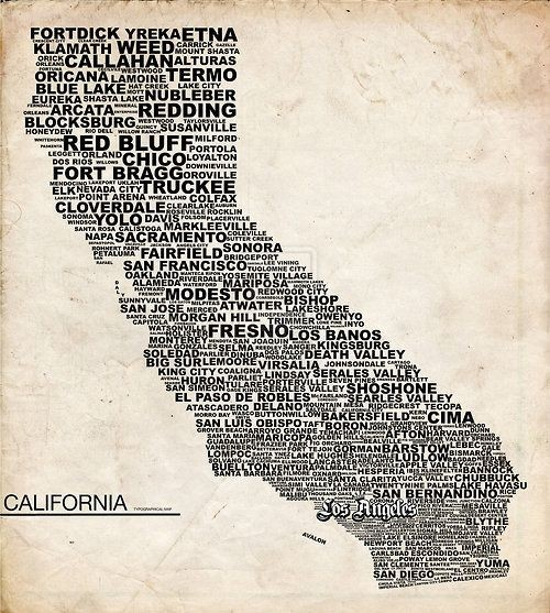 blonde-ambition:  gthegentleman:  Down in Socal  oh god why is Fresno bigger letters than Sacramento *and* San Francisco??? wait and wtf does Red Bluff think it's doing?? lol  hahahha AND Why the F is VISALIA spelled wrong??