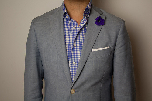 Corneliani sportcoat Kent Wang  blue gingham shirtKent Wang cotton pocket square