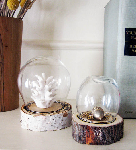 mildlyinterestingadventures:  Log Jar Display | Design*Sponge Sometimes it's quite hard to display small items without them being overwhelmed by what's around it. Displaying them in something as pretty as this not only draws attention to them but does it in a effective and cheap way!