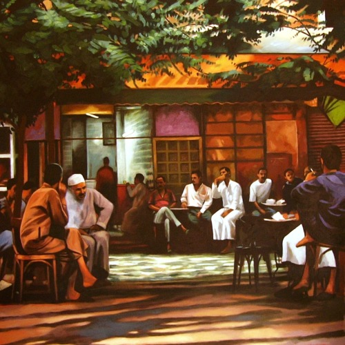 Café under trees Oil/canvas