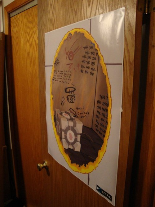 "insanelygaming:  My Portal Poster On A Wall // By: Eric Stover ""This is a pic of my orange portal poster on a buyer's wall! I've sold a few of these now, and I'm hoping to make a few more posters to put up with it soon!"" The price to get these printed at 2ft X 3ft individually is $16 plus $10 shipping to get the poster to me. Add in the cost of Etsy/Paypal charges and and you'll understand the price I have to ask for these. I'm working to get a lower price for the next batch, looking towards $24, so watch for it! New designs soon too!This Poster can be seen here: [link]You can buy your own copy here: [link]Other possible Portal themed Test Chamber poster design here: [link]"
