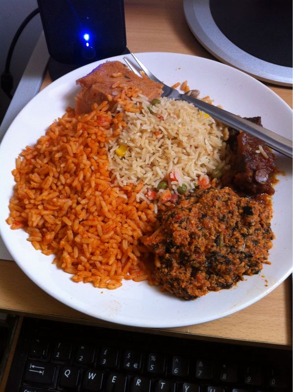 labellavita9:  Typical Nigerian dish I prepared; jellof rice, fried rice, moi moi and egusi. The egusi is a bit random though….. Usually goes with pounded yam or ground rice. This is NOT my plate though. I am NOT a monster looooool  This is Africa, our Africa