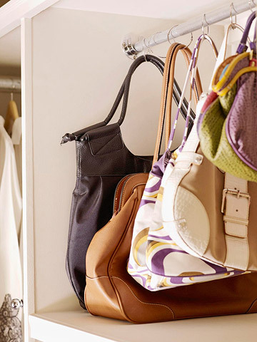 "homemadecrap:  DIY Handbag Organizer via Better Homes & Gardens (Secret: use shower rings!) Another ""why didn't I think of that"" moment….  I truly wish I had thought of this."