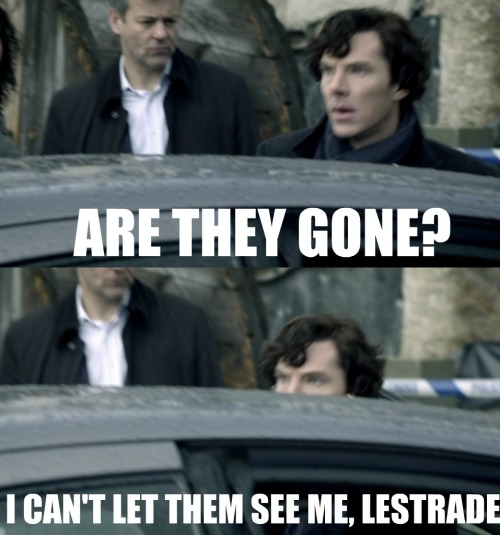 keepcalmandbebritishdarling:  Sherlock hiding from the fangirls