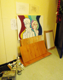 I started a painting today, and set myself up with a makeshift easel awyeah
