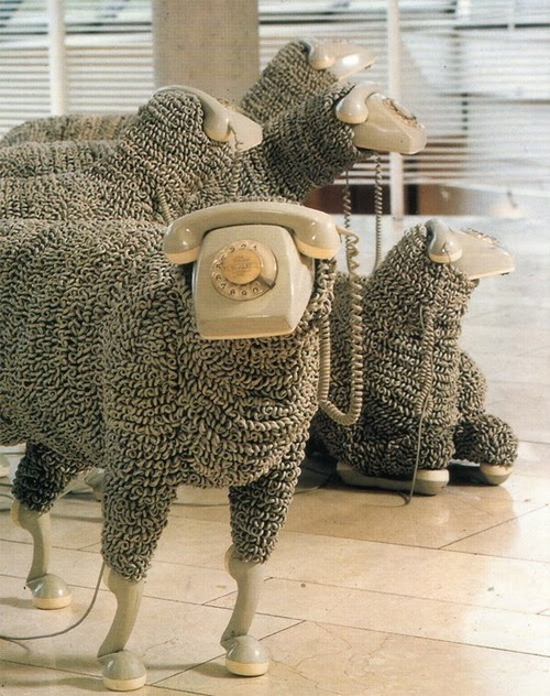 Sheep sculptures made from rotary phones by Jean-Luc Cornec