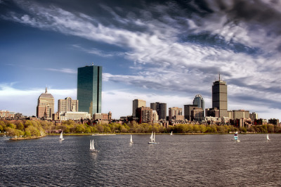 Boston Back-Bay from the Long Fellow Bridge (by Werner Kunz)