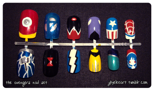 Manicure Monday: Avengers nail set. Jihye Lee works her Marvel-ous nail art skills on this set of Avengers-themed nails; these tiny manicured masterpieces are currently up for sale on her Etsy for a mere $7! I absolutely love the nails for Scarlet Witch, Captain America, Spider-Man, and Thor.