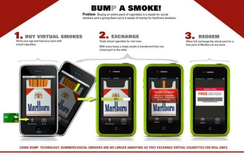"Using ""bump technology"" smokers can exchange virtual cigarettes for real ones"