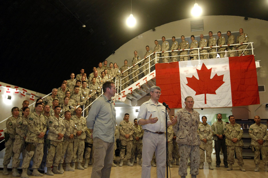 "Photos: Harper lauds troops on surprise Afghanistan visitKANDAHAR, Afghanistan — Prime Minister Stephen Harper declared during  a surprise visit with the troops in Kandahar on Monday that, because of  their efforts, ""Islamist terror"" generated in Afghanistan ""no longer  represents a geo-strategic threat to the world — it is no longer a  source of global terrorism.""After addressing about 500 soldiers in a makeshift  amphitheatre adorned with a gigantic Canadian flag, Mr. Harper told  journalists, ""We have to look at this mission as a great success,  remembering that we did this in the most difficult province."""